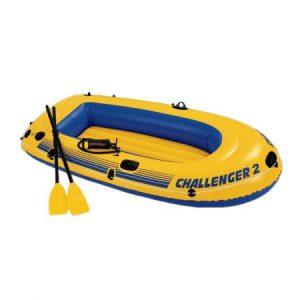Жълта лодка за риболов Intex Challenger 2 с две гребла и помпа на борда