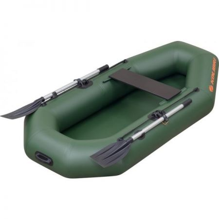 Dark-green inflatable fishing boat - Kolibri К190 with oars on both boards