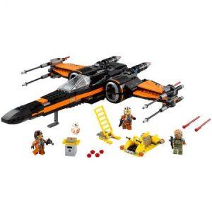 Poe's X-Wing Fighter - фигурка от Лего на бял фон