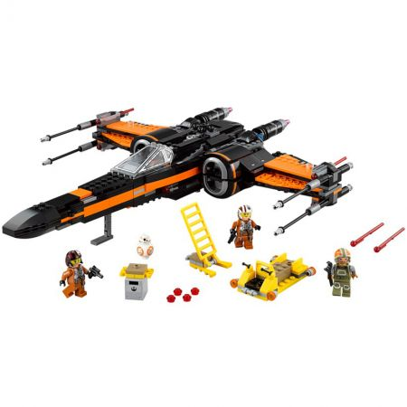 Poe Dameron's Lego X-Wing fighter with 3 Lego figures, BB-8 unit and some additional parts