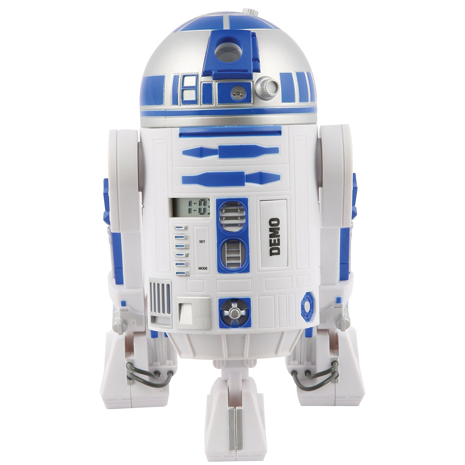 The front of a R2D2 unit rutned into an alarm clock