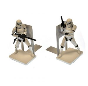 A photo of bookends with two collectible Stormtroopers