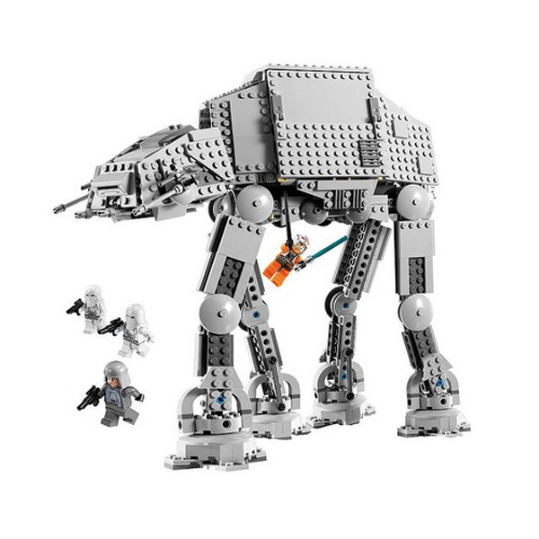 An AT-AT LEGO set with 4 mini-figures, including Luke Skywalker hanging from the Walker