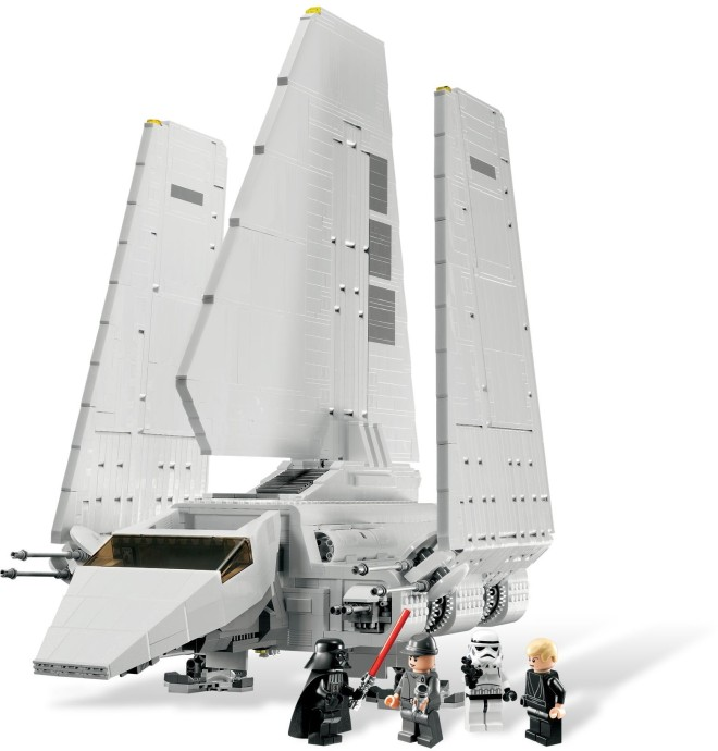 An Imperial Shuttle with it's wings closed. There are 4 mini-figures on the photo along the Tydirium Shuttle