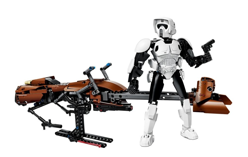 A Trooper on a Speederbike - complete LEGO set on a white background
