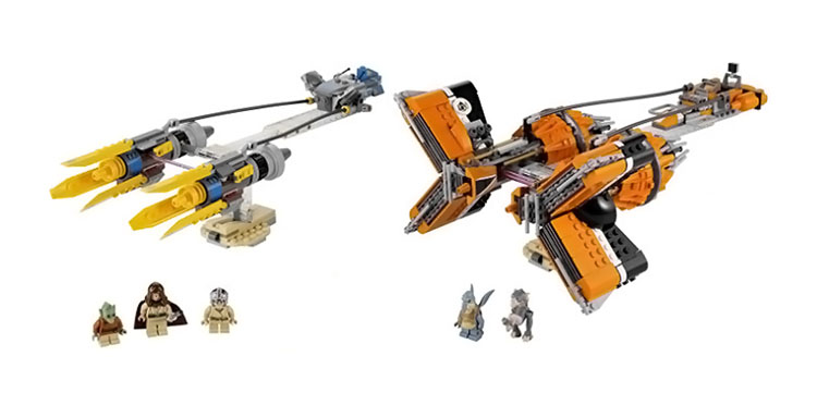 An image of Anakin's & Sebulba's podracers with the 5 mini-figures included in the set