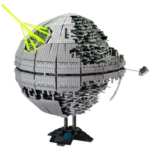 A collectable Death Star LEGO set on a display stand