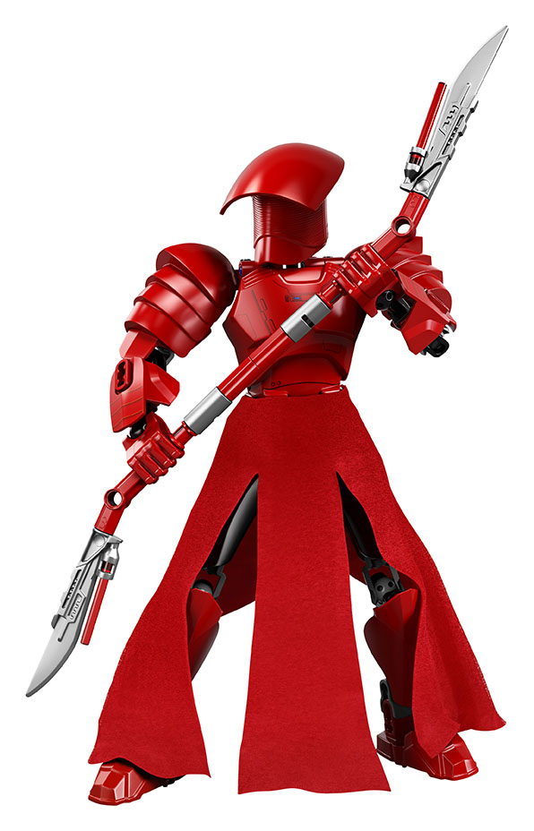 A red Praetorian Guard LEGO figure holding a weapon