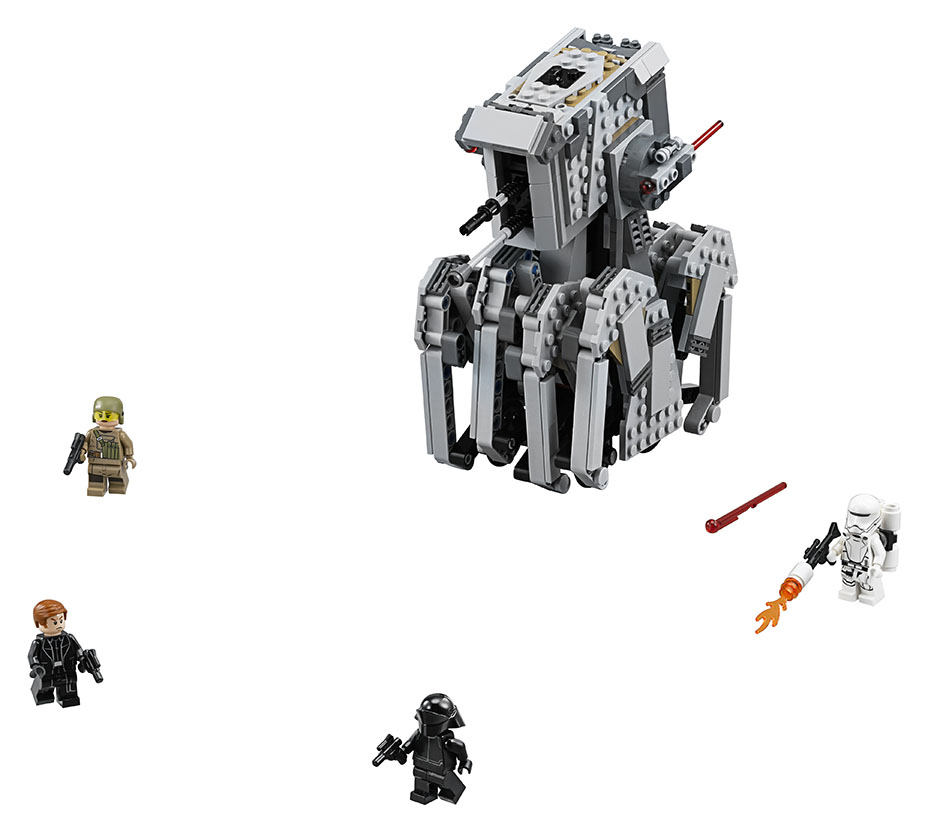 First look at 2017 FIrst Order Heavy Scout Walker LEGO set; picture with 4 mini figures