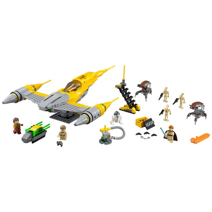 The Naboo Starfighter LEGO set along with all addition that come with the kit