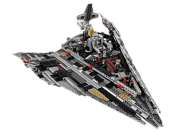 An image of the interior of the First Order Destroyer LEGO set with side panels opened