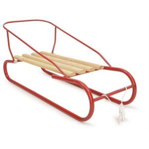 Червена шейна с дървена седалка