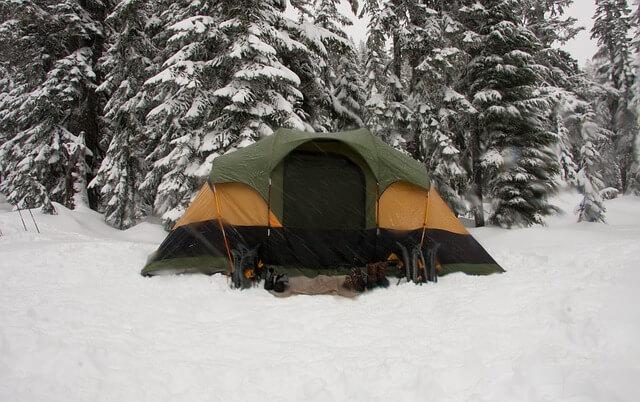 Зелена палатка, разпъната в снега пред заснежен бор