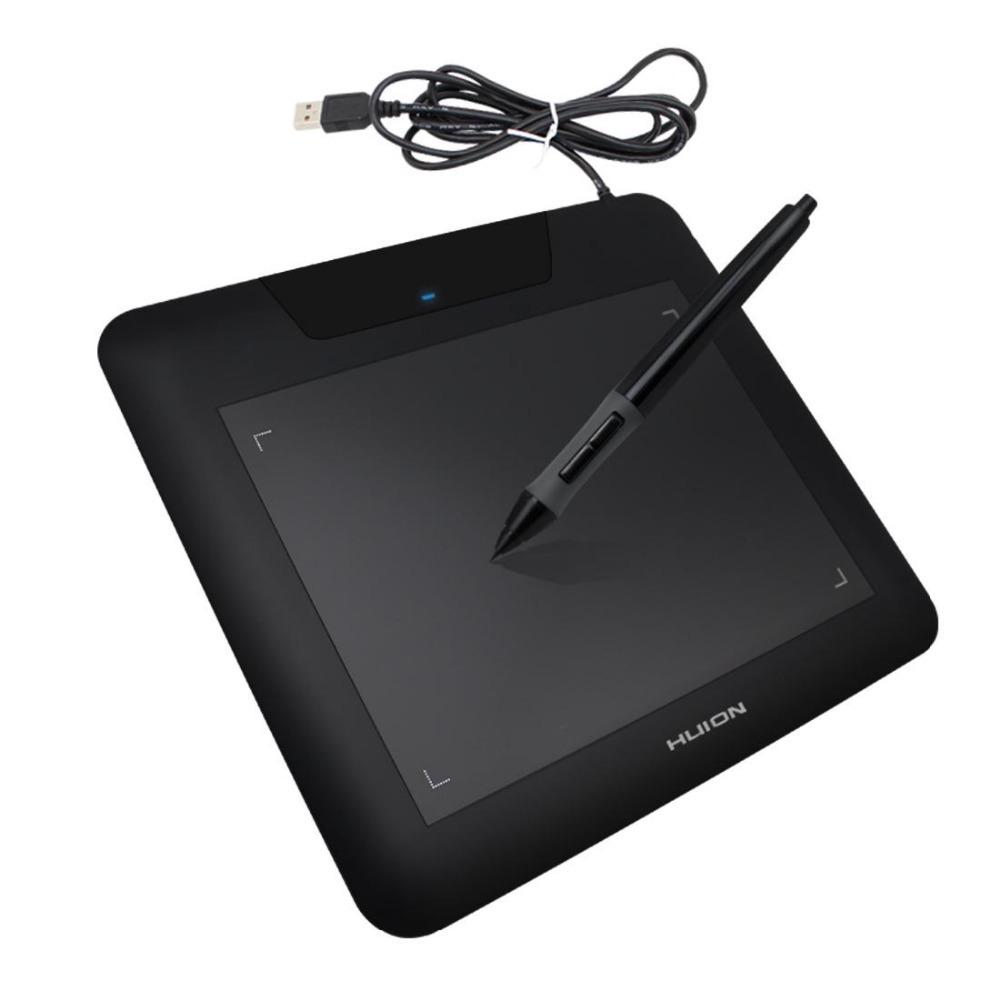 Черен таблет за рисуване Huion 680s със стилус и навит USB кабел