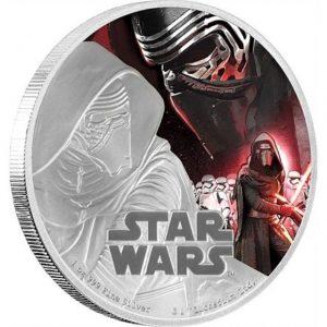 """Сребърна Star Wars монета с Кайло Рен и надпис """"Star Wars"""" на лицевата страна"""