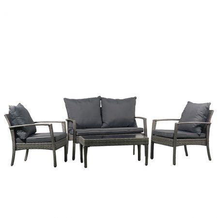Комплект от градинска маса, два стола и канапе за градината с тъмнокафеви възглавнички