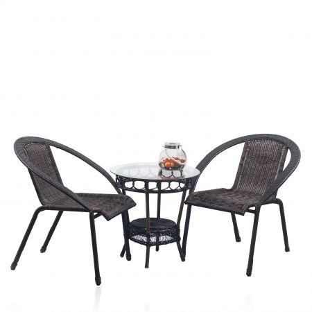 Градински комплект - два стола и маса за кафе от изкуствен ратан