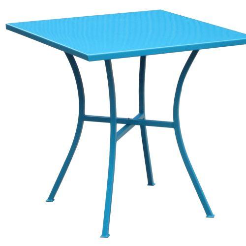 Синя метална градинска маса