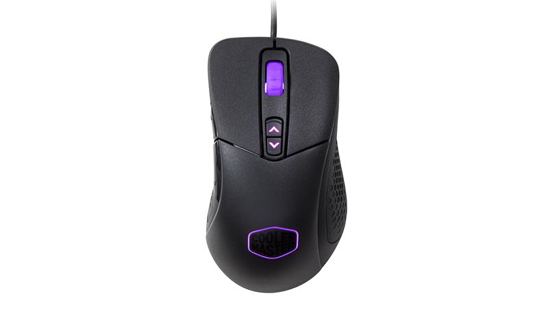 Геймърска мишка Cooler Master MasterMouse MM530 на бял фона с лилави елементи, погледната отгорв