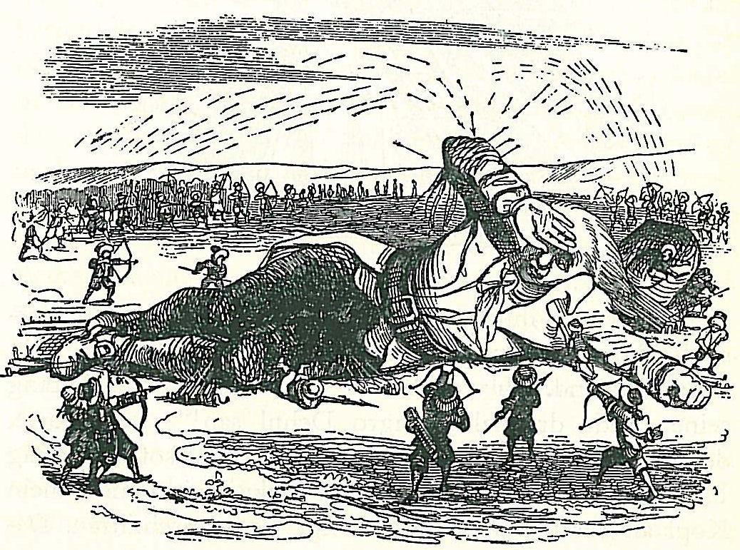 Графика, изобразяваща Гъливер, прикован с въжета към пясъка, обграден от лилипути
