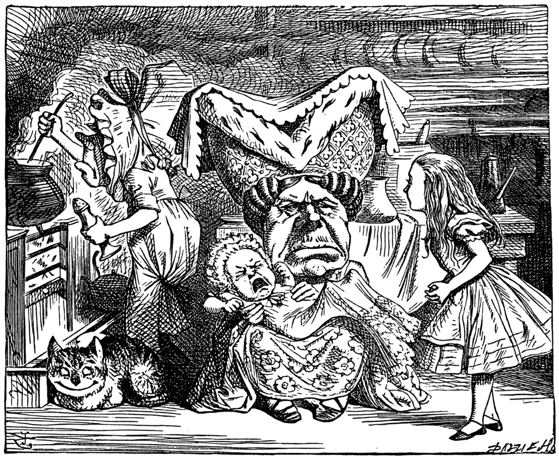 Илюстрация на Джон Тениел, публикувана в Алиса в Страната на Чудесата през 1865.
