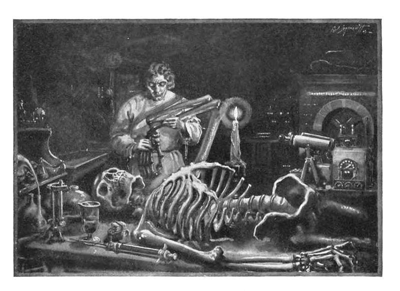 Илюстрация изобразяваща Виктор Франкенщайн със скелета на чудовището си