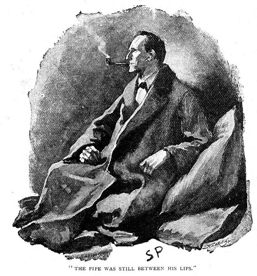 """Графика изобразяваща Шерлок Холмс с лула в уста. Илюстрацията се появява за първи път през 1891 година в """"Човекът с обърнатата устна"""""""
