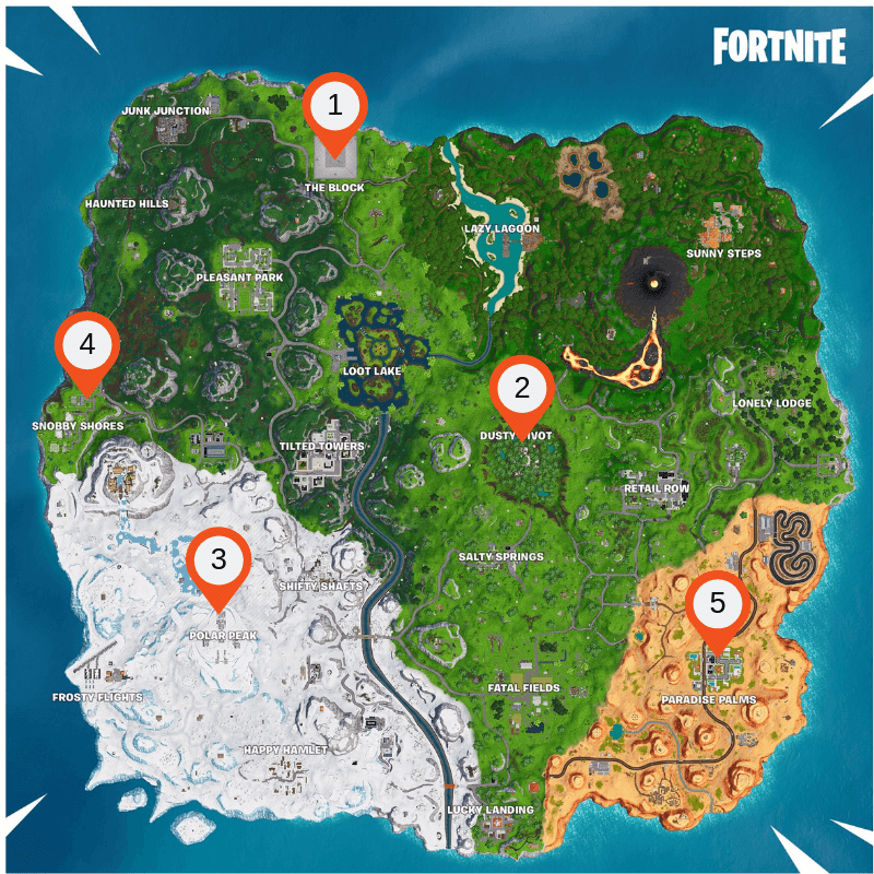 Fortnite map - Season 8 - how to complete the week 8 challenges