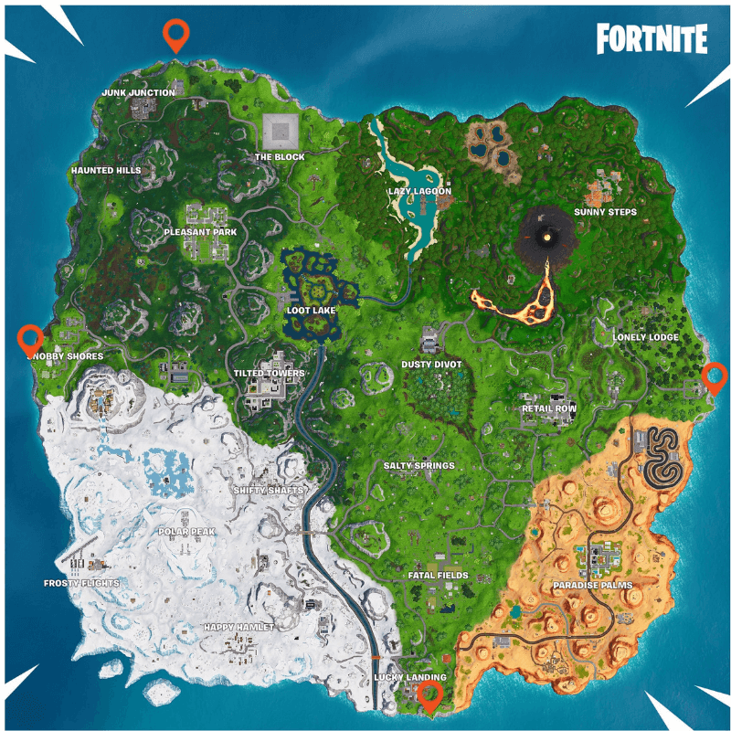 A map of Fortnite's island with the furthest north, south, east, and west points marked.