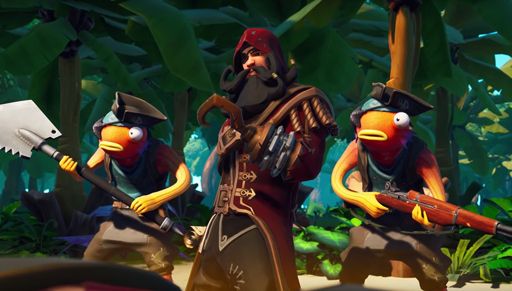 FOrtnite Season 8 - A Pirate Captain and two Fishstick bodyguards