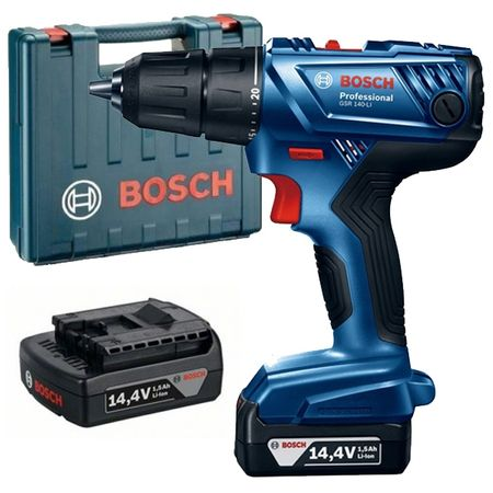 Винтовер Bosch Professional GSR 140 LI в синьо и черно, с куфар и зарядно устройство.