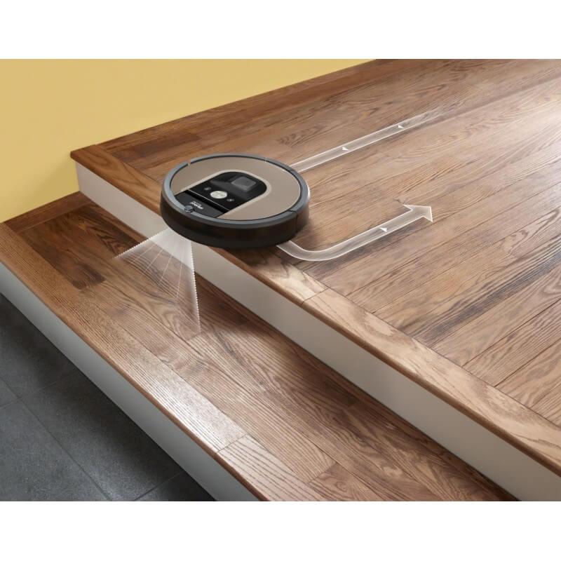 Прахосмукачка робот Roomba, със сензор, които не ѝ позволява да падне по стълбите