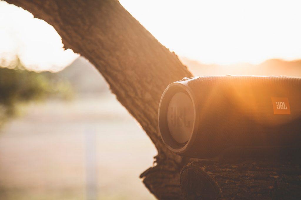 Преносима безжична JBL тонколонка на клон на дърво по залез слънце