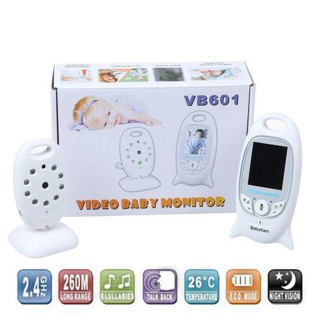 Видео бебефон с бяла кутия - камера и родителско устройство в бяло.
